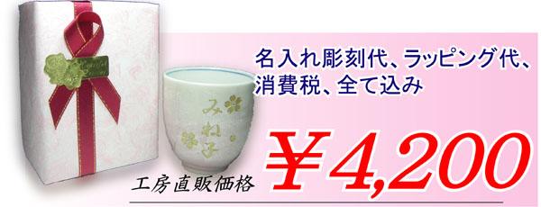九谷焼銀彩 名入れ彫刻湯呑み¥4,200