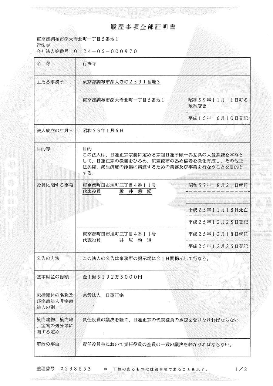 行法寺の登記簿